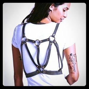 Free People Distressed Dark Gray Leather Harness